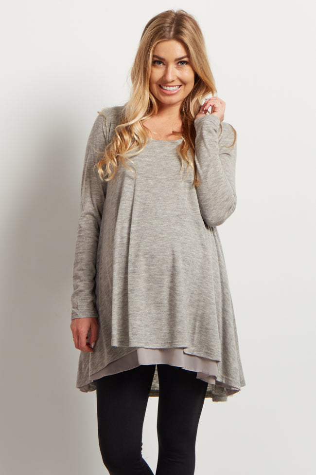 Grey Chiffon Layered Flare Knit Maternity Top