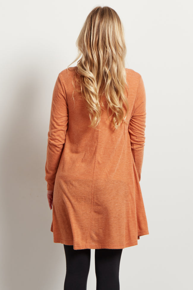 Rust Chiffon Layered Flare Knit Maternity Top