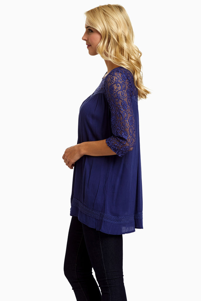 Blue Lace Top Linen Blouse