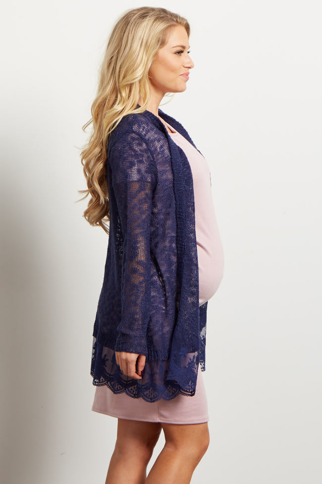 Navy Blue Lace Trim Knit Open Maternity Cardigan