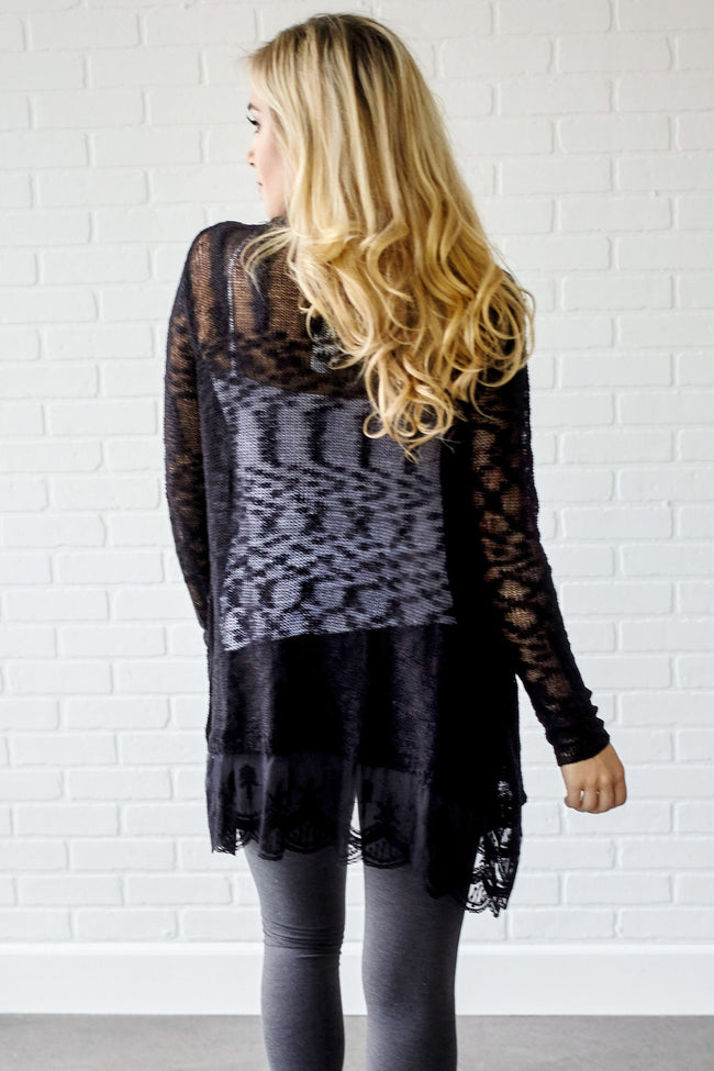 Black Lace Trim Knit Open Cardigan