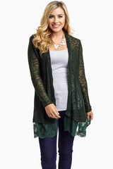 Forest Green Lace Trim Knit Open Cardigan