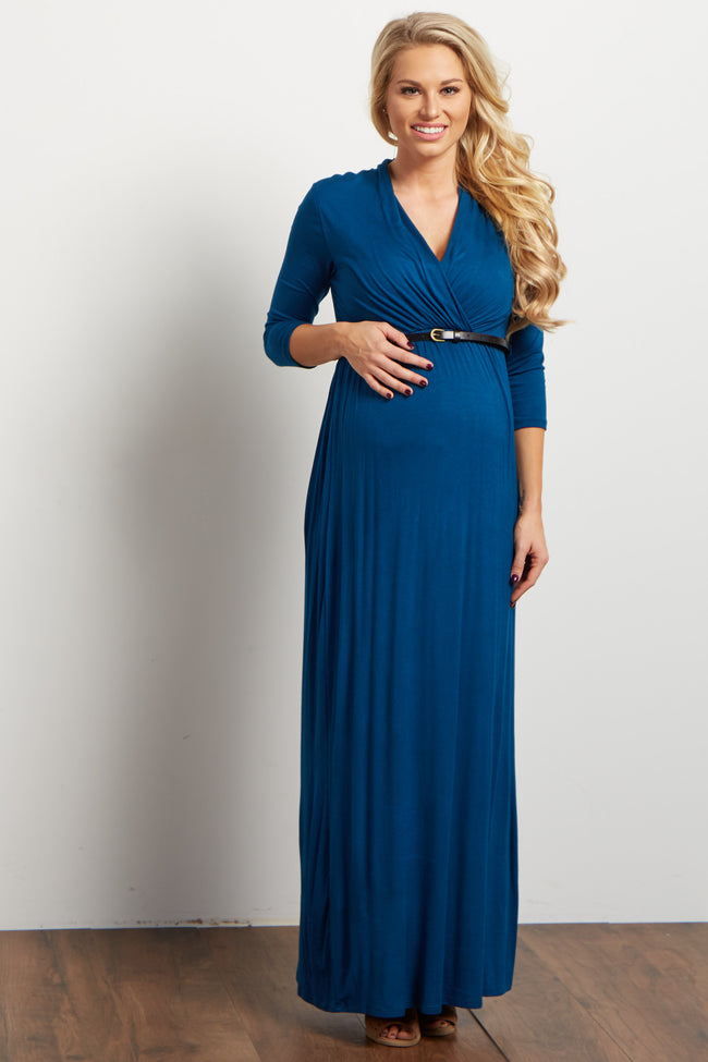 Teal Belted 3/4 Sleeve Maternity/Nursing Maxi Dress
