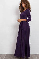 Purple Draped 3/4 Sleeve Maxi Dress