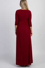 PinkBlush Burgundy Draped 3/4 Sleeve Maternity Maxi Dress