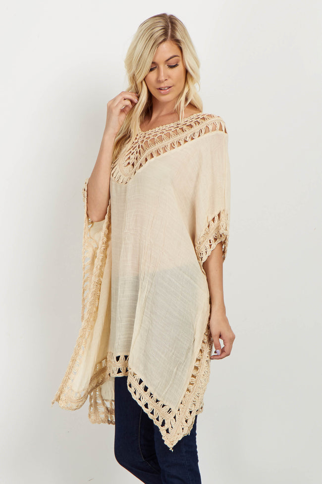 Beige Open Crochet Accent Linen Tunic