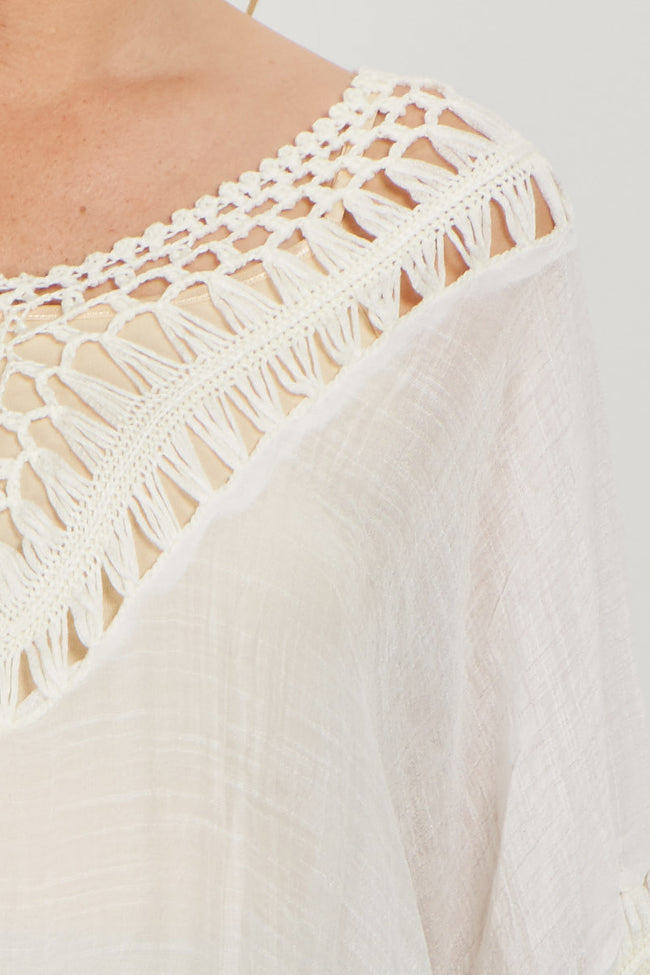 White Open Crochet Accent Linen Maternity Tunic