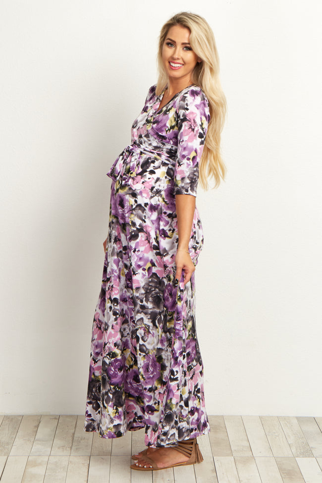Lavender Watercolor Floral Draped Maternity Maxi Dress