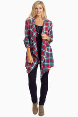 Red Plaid Lace Back Maternity Cardigan