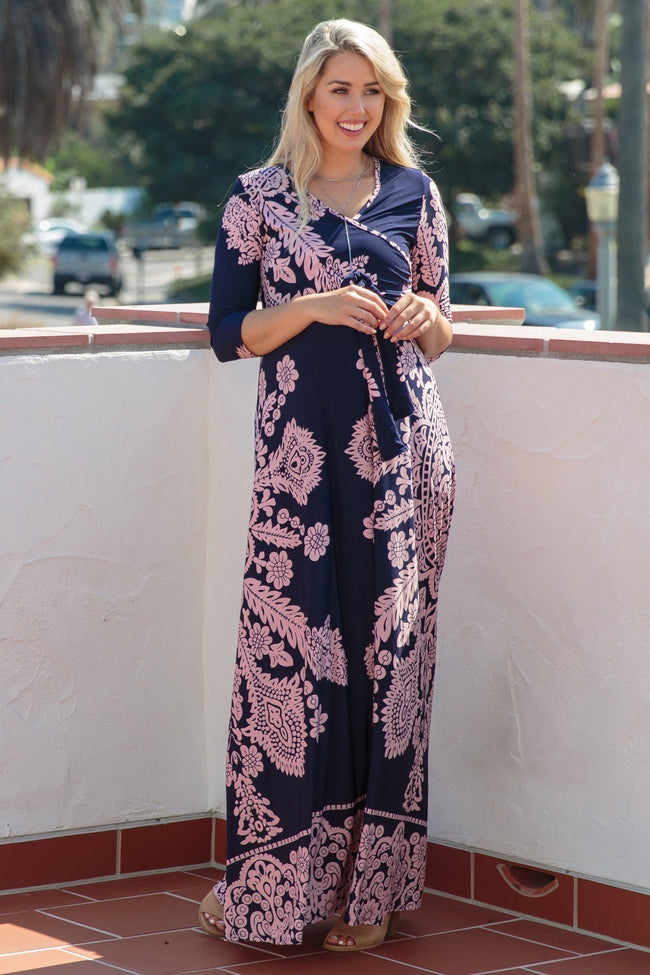 Petite Navy Pink Printed Draped Maternity Maxi Dress