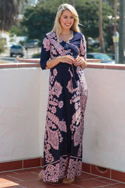 Navy Pink Printed Draped Maternity Maxi Dress