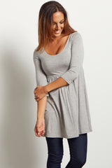 Heather Grey 3/4 Sleeve Maternity Top