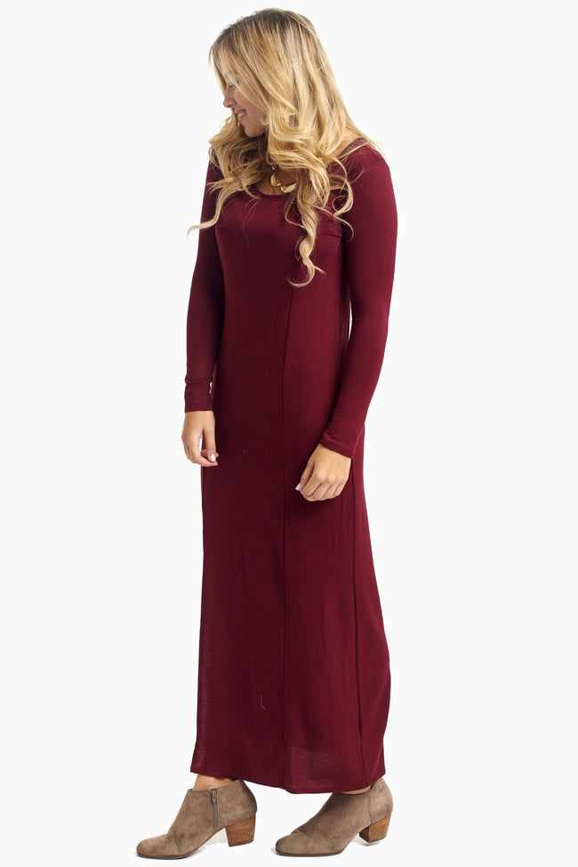 Burgundy Solid Maxi Dress