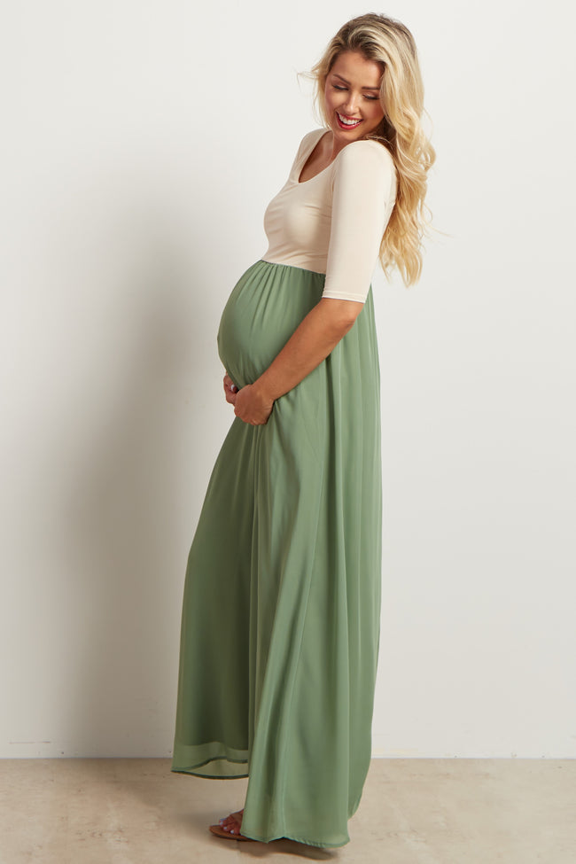 Sage Chiffon Colorblock Maternity Maxi Dress