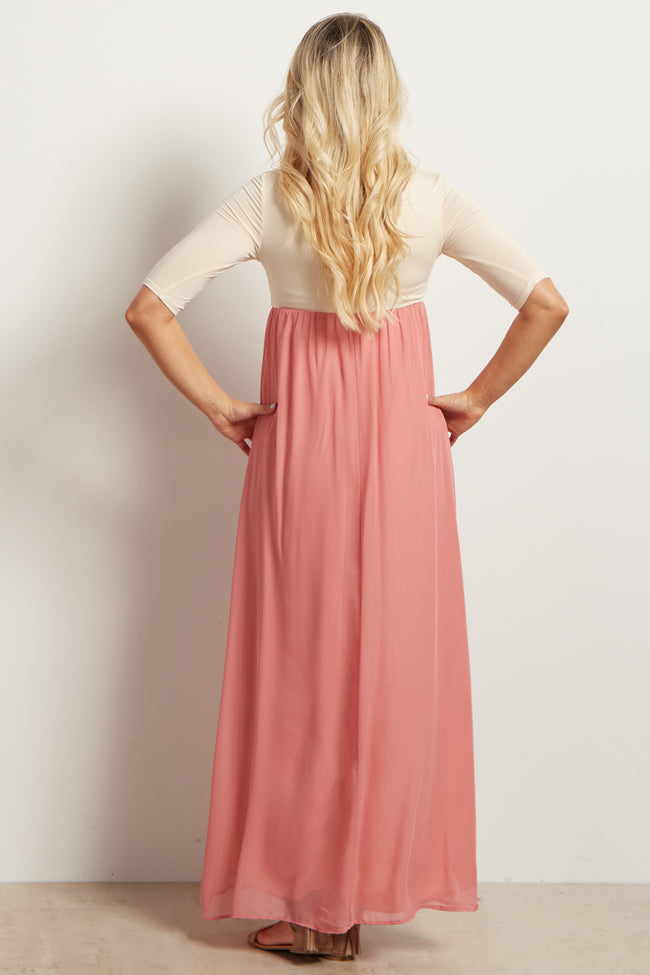 Blush Pink Chiffon Colorblock Maternity Maxi Dress
