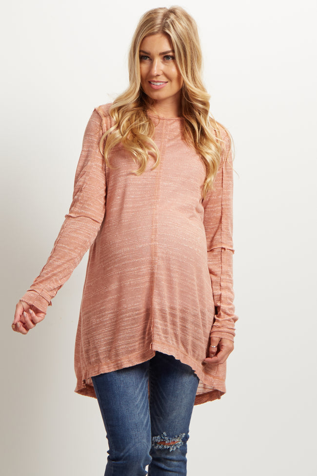 Blush Pink Scoop Back Maternity Tunic