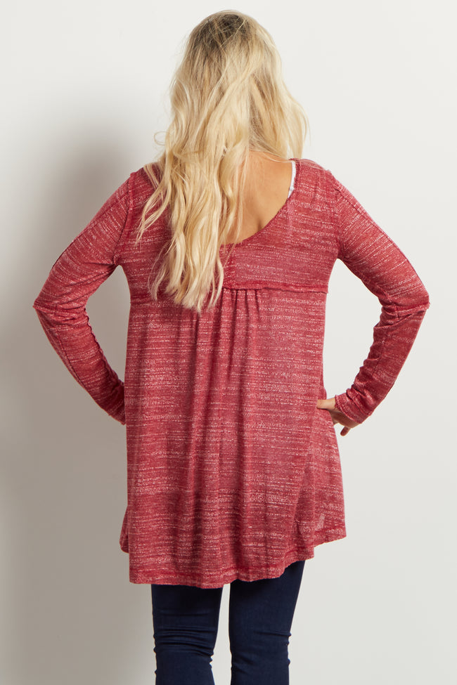 Burgundy Scoop Back Maternity Tunic