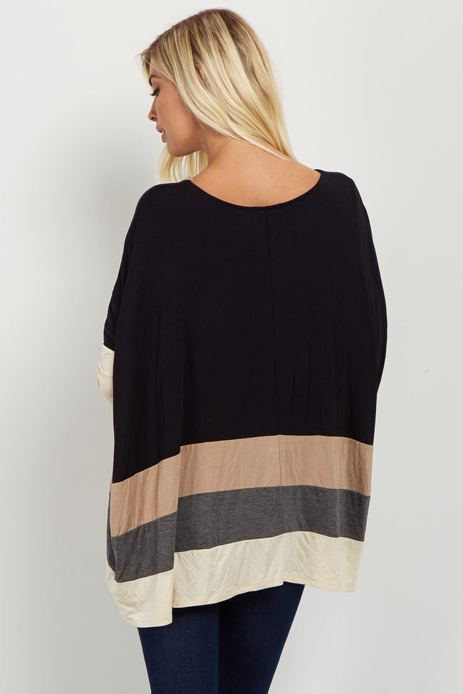 Black Multi Colorblock 3/4 Sleeve Top