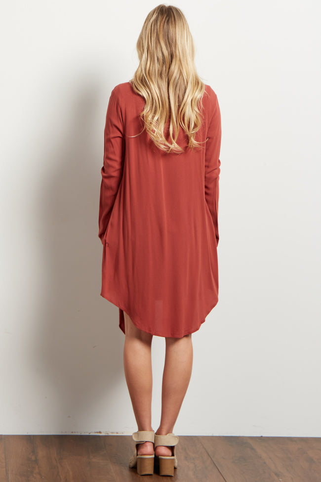 Faded Coral Long Flowy Open Front Maternity Cardigan
