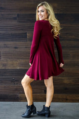 Burgundy Basic Long Sleeve Dress