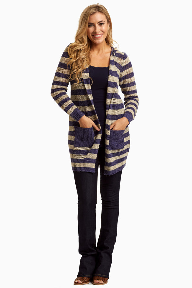 Royal Beige Striped Knit Hooded Maternity Cardigan