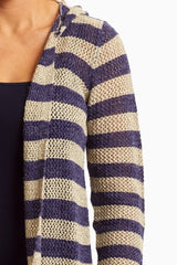 Royal Beige Striped Knit Hooded Cardigan