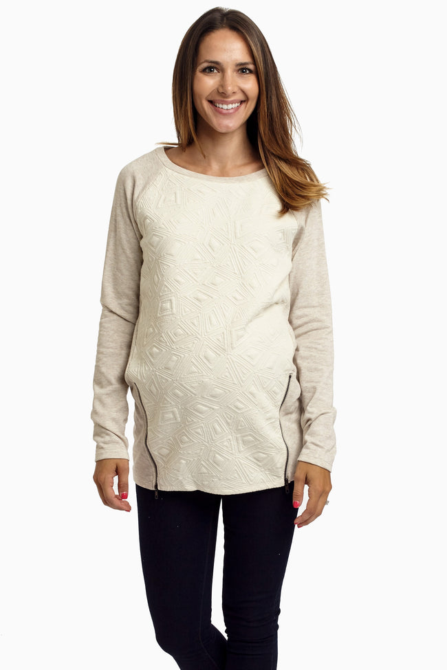 Beige Geometric Textured Zip Maternity Top