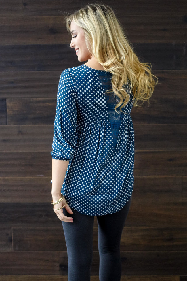 Navy Blue Printed Lace Accent Peasant Top