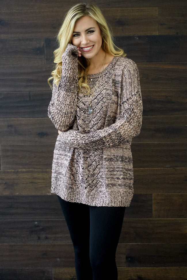 Charcoal Mauve Open Knit Sweater