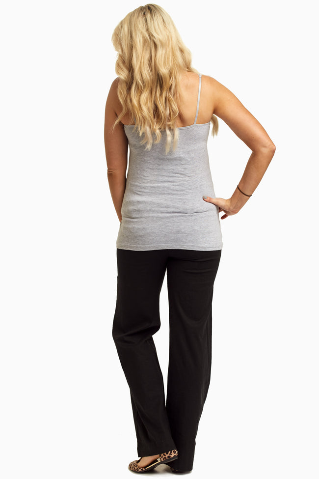 Black Linen Maternity Pants