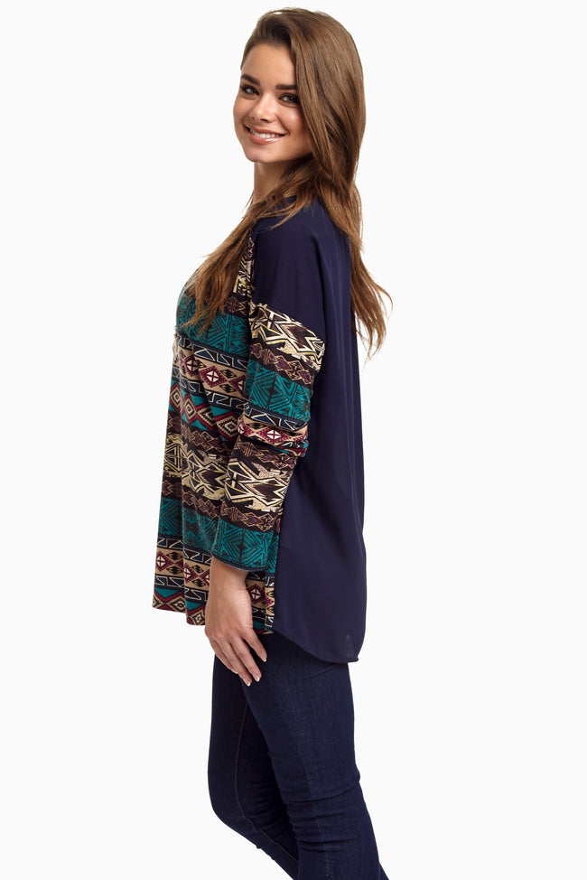 Navy Tribal Front Chiffon Top