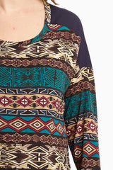 Navy Tribal Front Chiffon Maternity Top