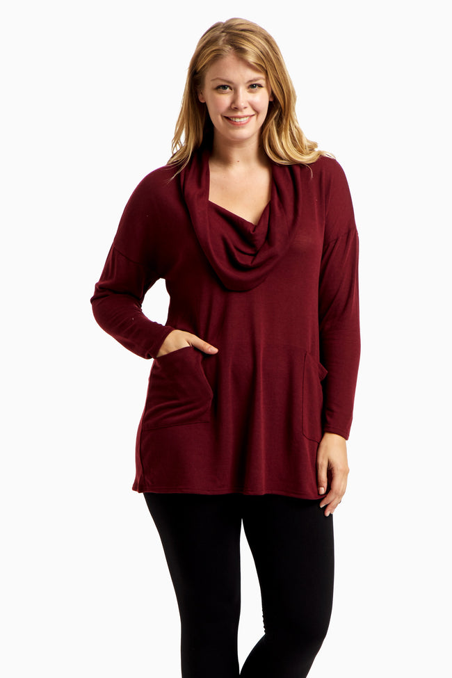 Burgundy Cowl Neck Plus Size Top