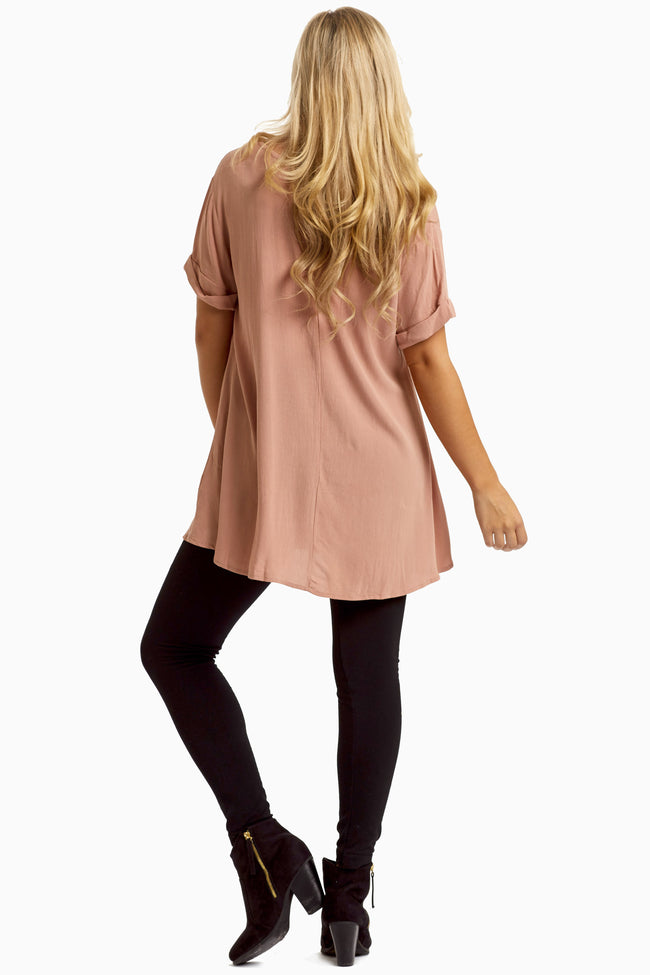 Dusty Pink Cuffed Sleeve Crepe Tunic