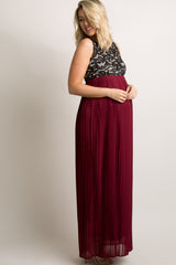 Burgundy Pleated Chiffon Lace Top Maternity Maxi Dress