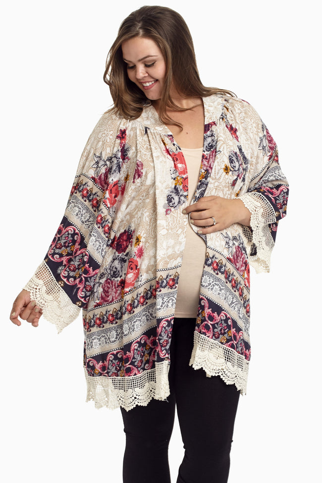 Navy Blue Floral Lace Plus Size Maternity Cardigan