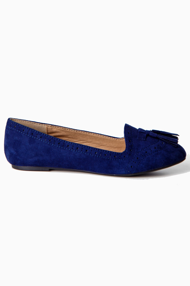 Navy Blue Oxford Flats