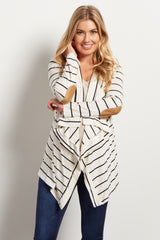 White Striped Suede Elbow Patch Maternity Cardigan