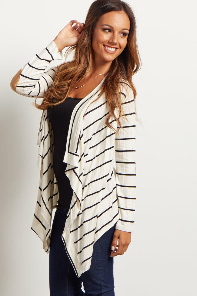 White Striped Suede Elbow Patch Cardigan