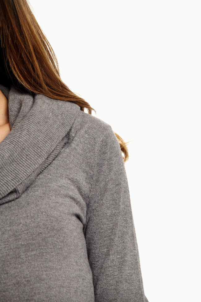 Grey Cowl Neck Fitted Maternity Sweater