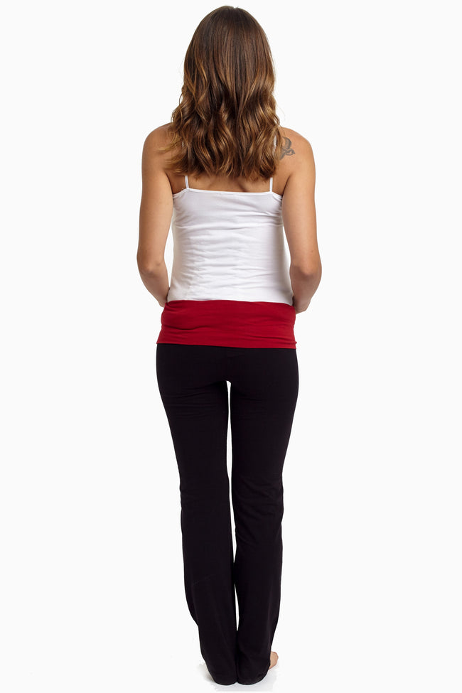Burgundy Waistband Maternity Yoga Pants