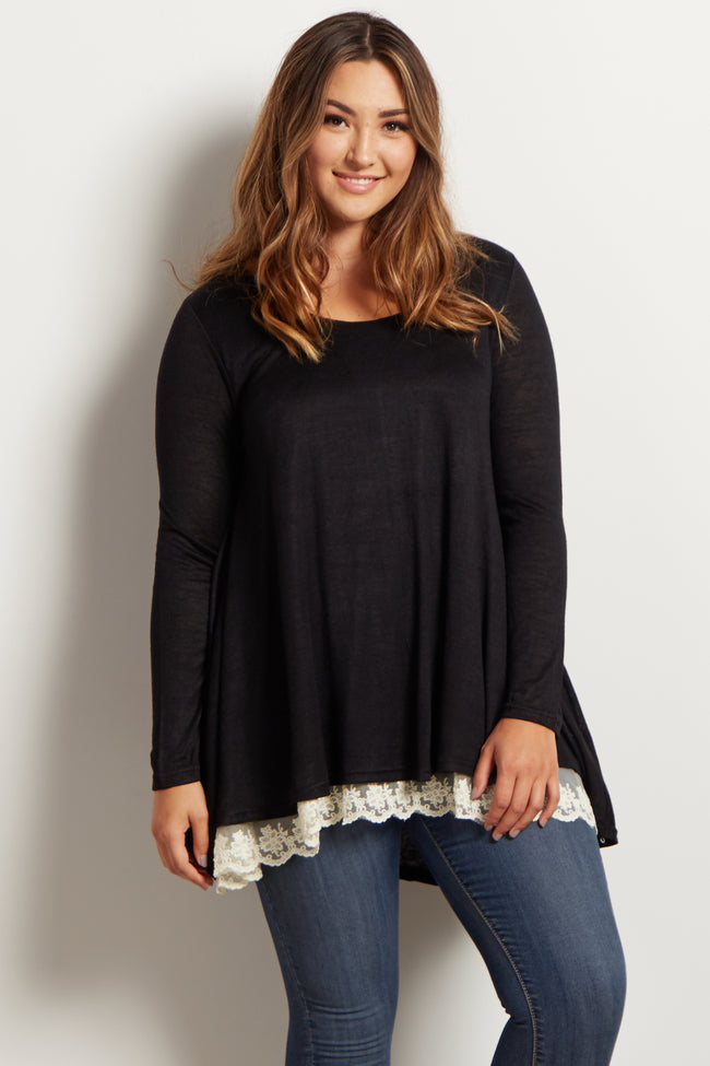 Black Lace Trim Flared Plus Size Maternity Top