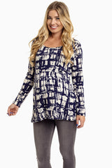 Navy Cream Cross Hatch Printed Maternity Top