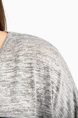 Grey Zip Pocket Heathered Plus Size Maternity Top