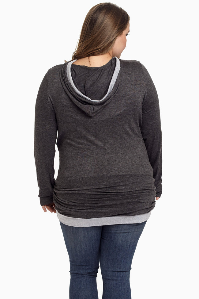 Charcoal Hooded Plus Size Maternity Tunic