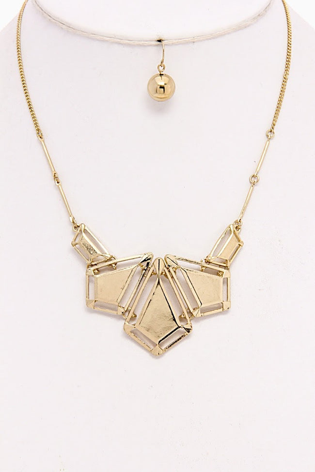 Gold Geometric Necklace/Earring Set