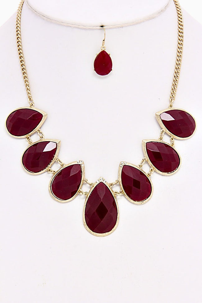Burgundy Teadrop Necklace/Earring Set