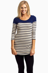Navy Colorblock Striped Maternity Top