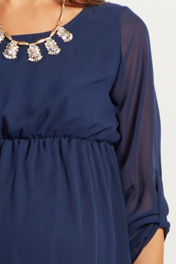Navy Chiffon 3/4 Sleeve Maternity Dress