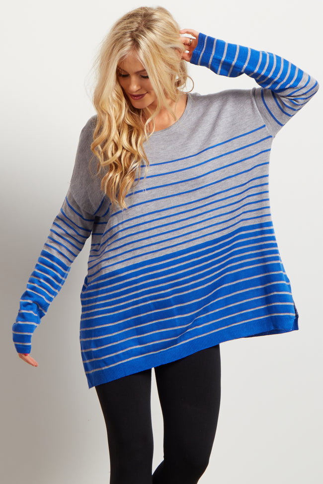 Blue Grey Striped Colorblock Knit Sweater